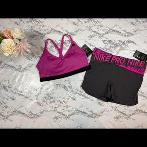 Women's NIKE Pro Sports Bra and Shorts